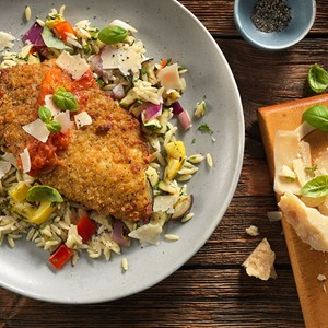 Parmesan Crusted Tilapia with Italian Orzo
