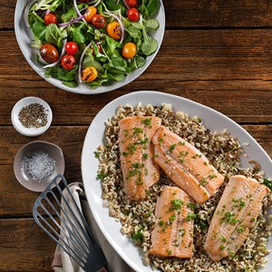 Oven roasted pacific salmon with fresh herbs