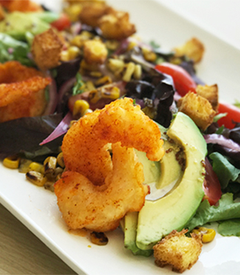 Southern Fried Shrimp Salad with Honey Bourbon Dressing & Corn Bread Croutons