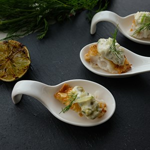 Almond Crusted Sole Bites with Wasabi Tartar