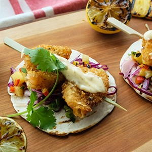 Coconut Shrimp Taco with Jerk Aioli