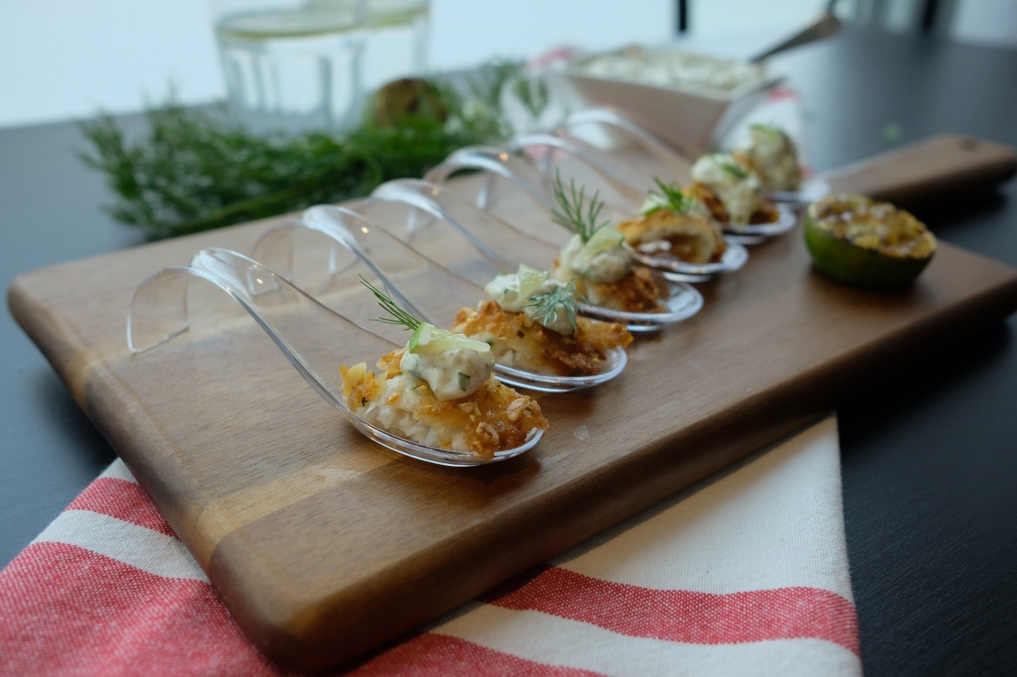 Easy Japanese Inspired Seafood App - Almond Crusted Sole Bites with Wasabi Tartar