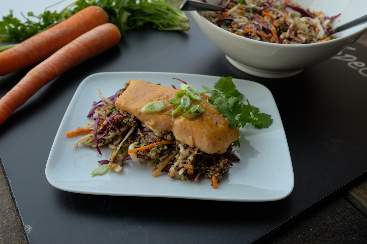 Asian Glazed Salmon with Quinoa Slaw