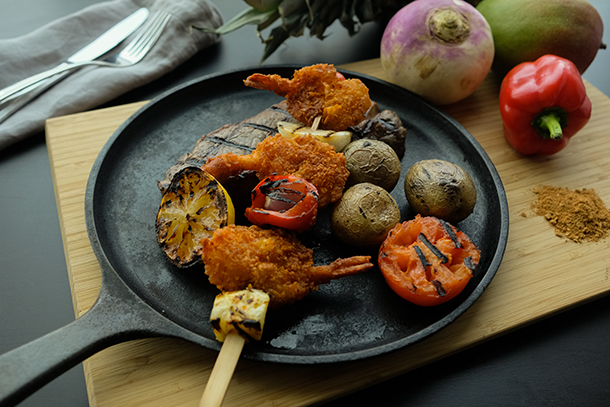Restaurant Menu Add-Ons with Fiery Coconut Shrimp Skewers