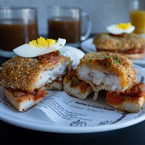 Middle Eastern Inspired Breakfast Bagel, featuring UpperCrust™ Everything Bagel Crusted Alaska Pollock
